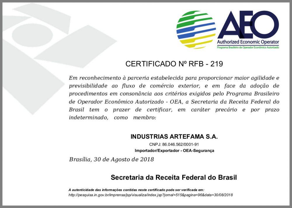 Certificado OEA-S Artefama