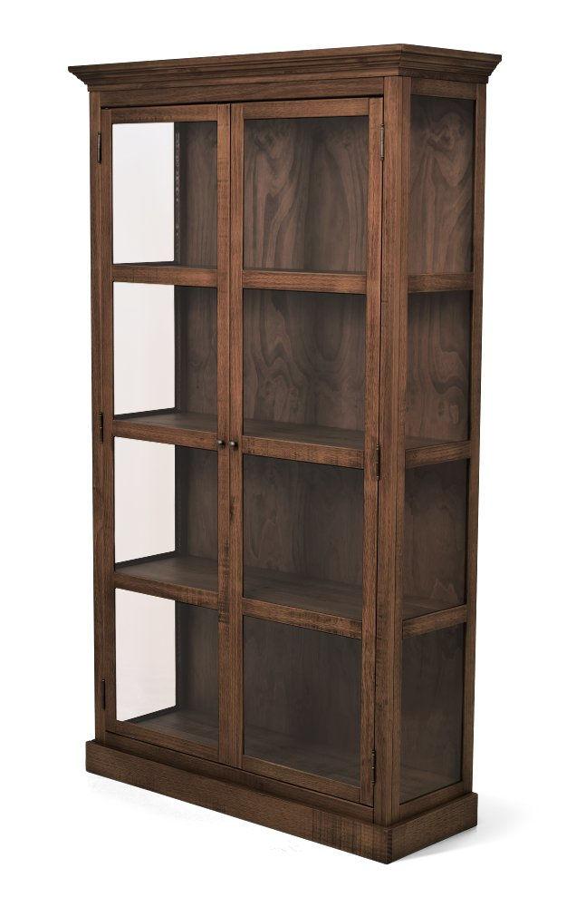 Cristaleira de madeira maciça 2 portas com vidros Range canela