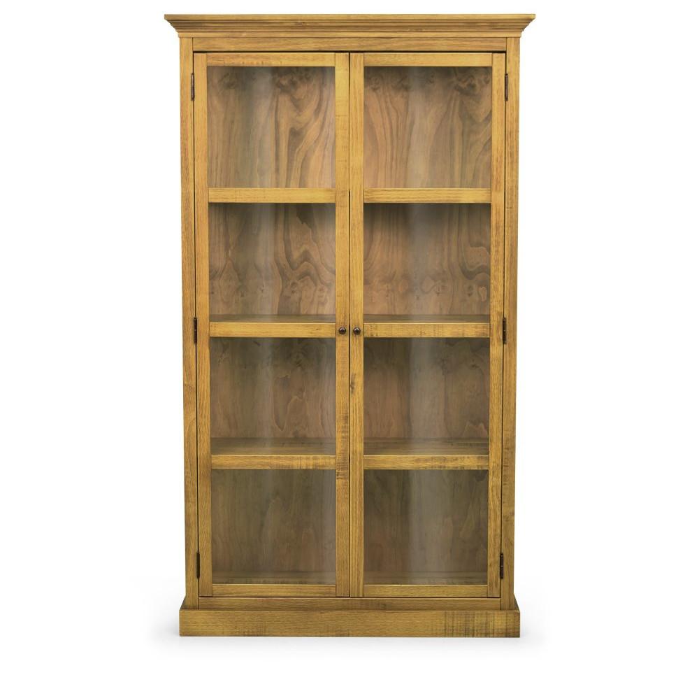 Cristaleira de madeira maciça 2 portas com vidros Range frontal oregon